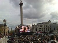 T Mobile advert filming in Trafalgar Square