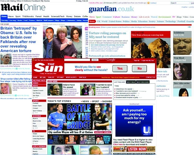 Newspaper websites