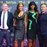 Louis Walsh, Tulisa Contostavlos (N Dubz), Kelly Rowland (Destiny's Child), Gary Barlow (Take That)