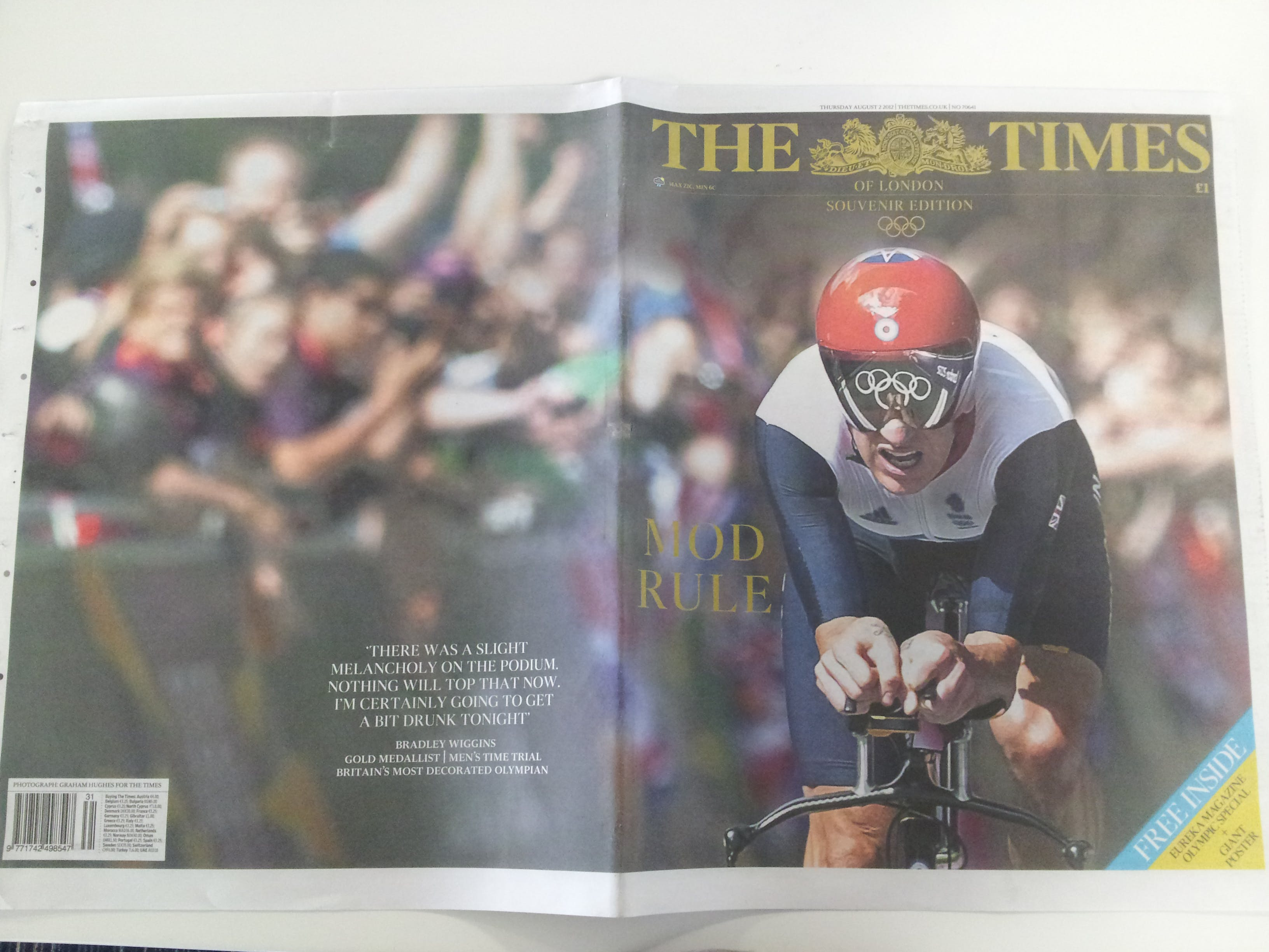Bradley Wiggins Times commemorative cover