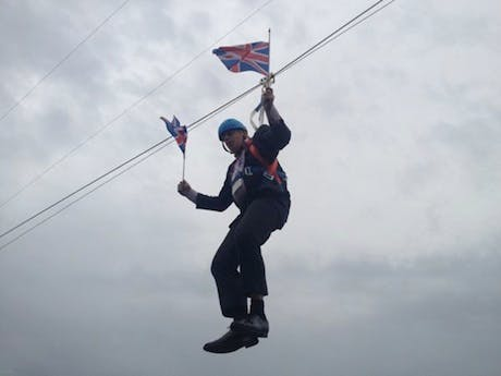 Boris Johnson Suspended Zip Wire
