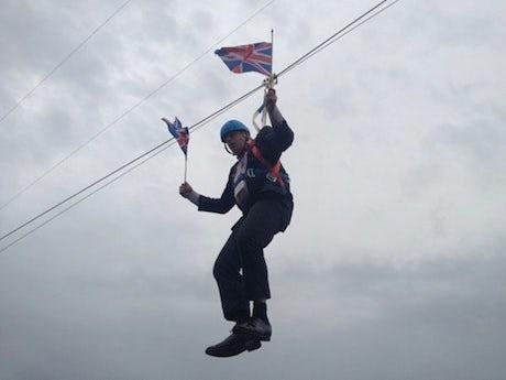 Boris Johnson Suspended Zip Wire