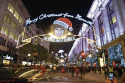 Marmite Christmas lights Oxford Street