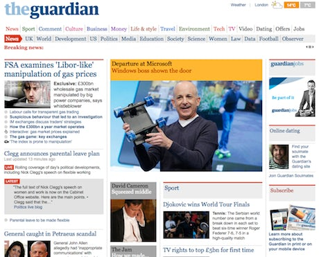 Guardiian Front Page
