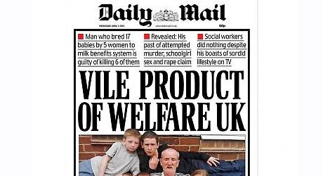 Daily Mail headline linked Philpott manslaughter to welfare state.