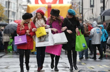 Shoppers on Oxford Street in December.