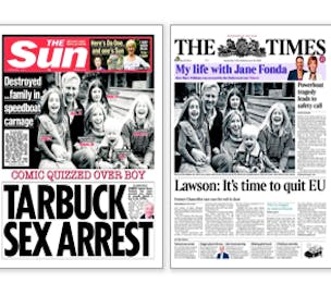 The Times The Sun Front Covers