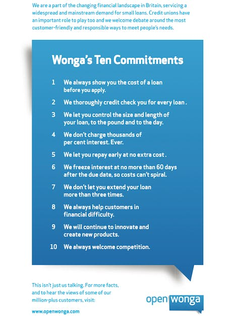 Wonga 10 Commitments ad