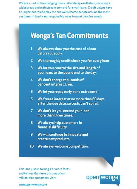 Wonga 10 Commitments ad
