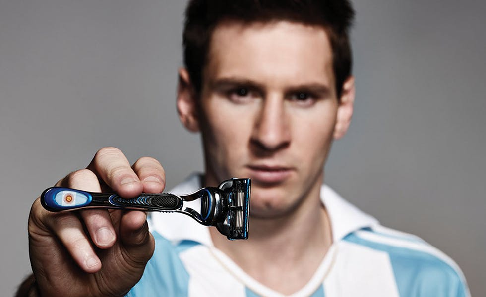 Gillette's new campaign features Messi, while Coke is using US pop star David Correy