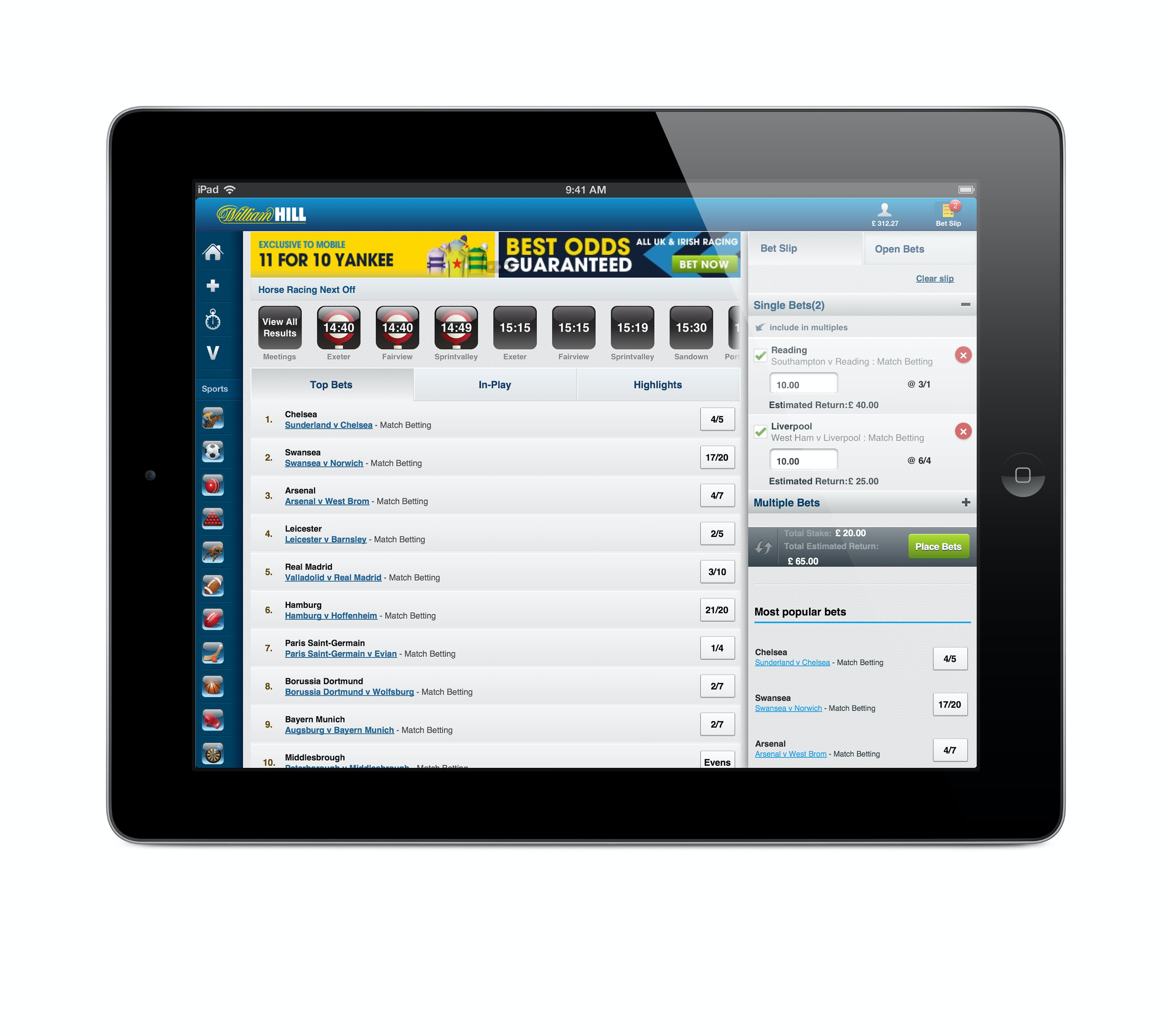 William Hill iPad app