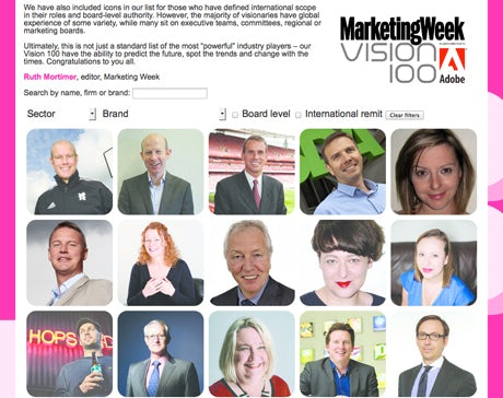 Vision 100 homepage