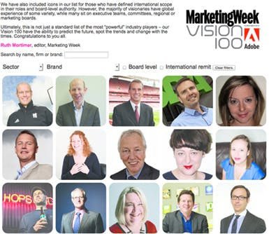 Our Marketing Week Vision 100 revealed
