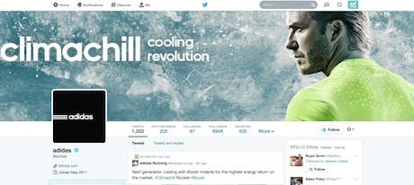 Adidas's Twitter profile