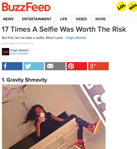 BuzzFeed branded post
