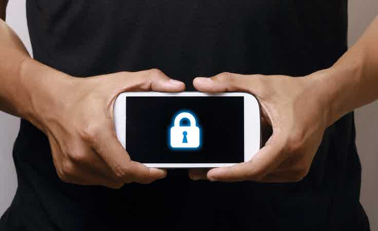 Mobile research under threat padlocked phone