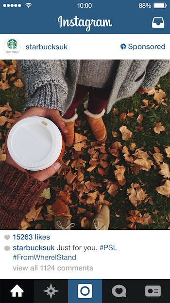 Starbucks Instagram ad