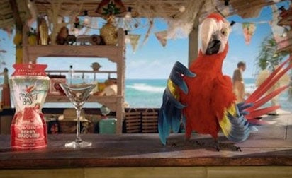 The Parrot Bay ad's use of slapstick humour and animation was deemed to make it appealing to kids.