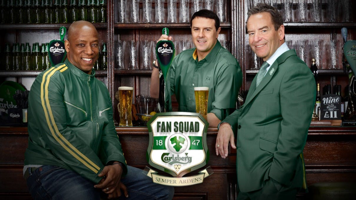Carlsberg said its football campaign, backed by an Wright, Paddy McGuinness, Jeff Stelling (above) boosted sales.