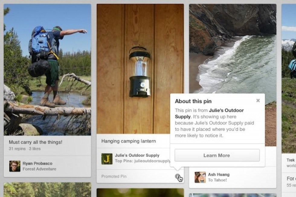 Pinterest introduced ads in the US earlier this year