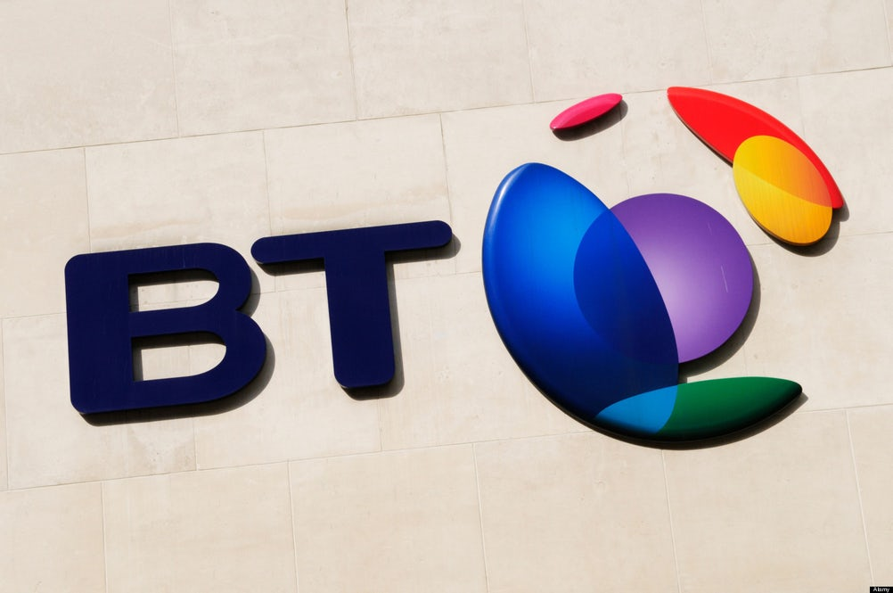 BT British Telecom Sign Logo Symbol, Newgate, Cheapside, London, England, UK
