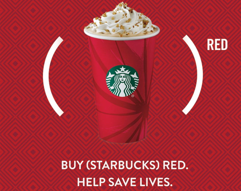 Starbucks is donating money for every coffee bought to (RED)