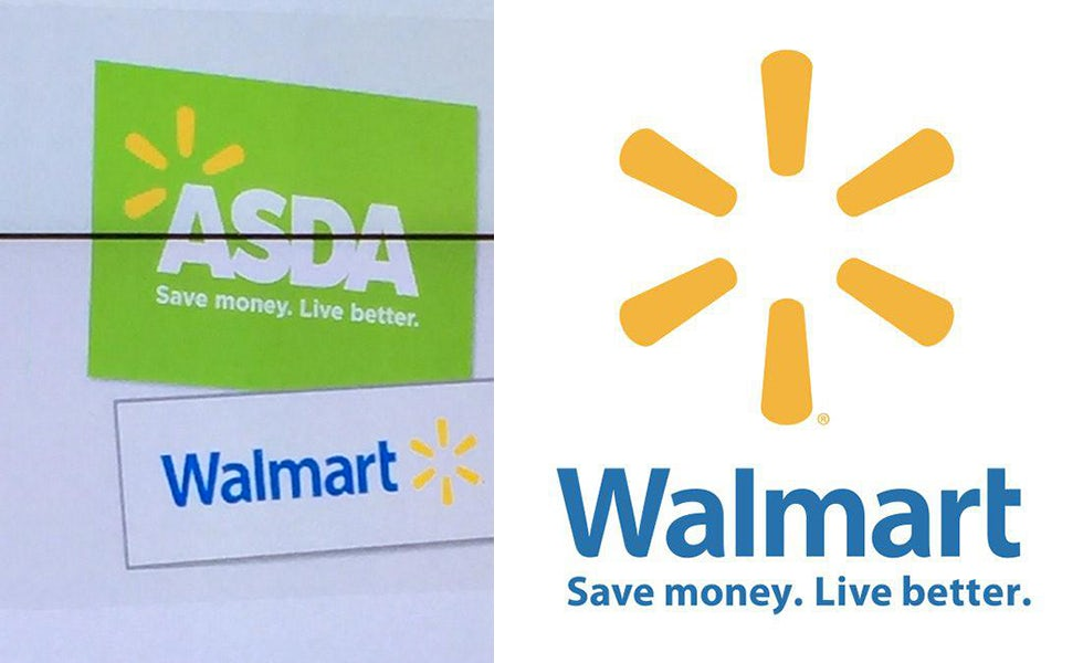 A preview of the Asda brand refresh (left) shown at today's results briefing has striking similarities to Walmart (right)