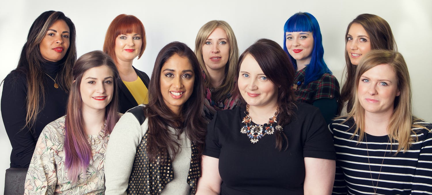 Second from right, Hayley Carr (londonbeautyqueen.com) poses with Tesco's health and beauty experts, who will all be on hand to advise consumers via video link