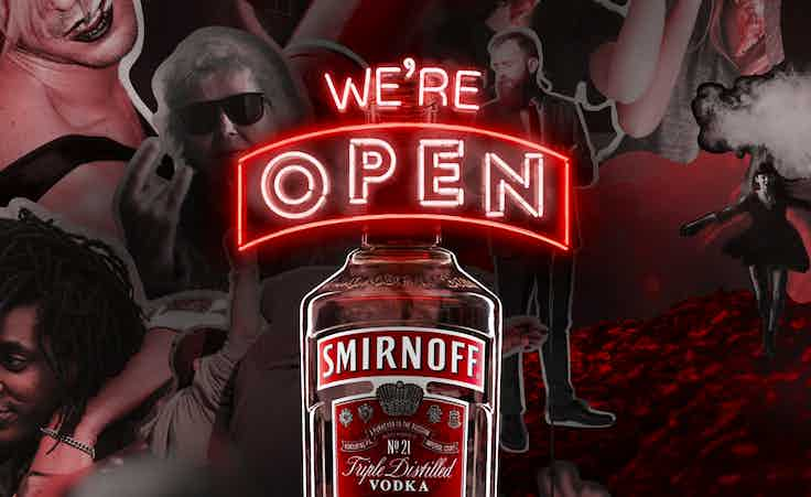 Smirnoff we're open
