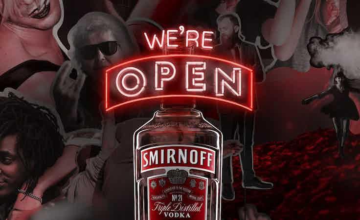 Smirnoff we're open