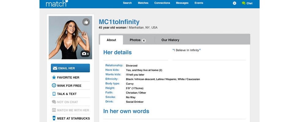 Mariah Carey clearly prefers Match.com to Tinder