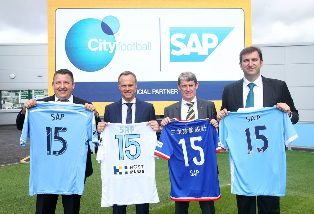 Franck Cohen (SAP), Stefan Wagner (SAP), Brian Marwood (City Football Group), Ferran Soriano (City Football Group)