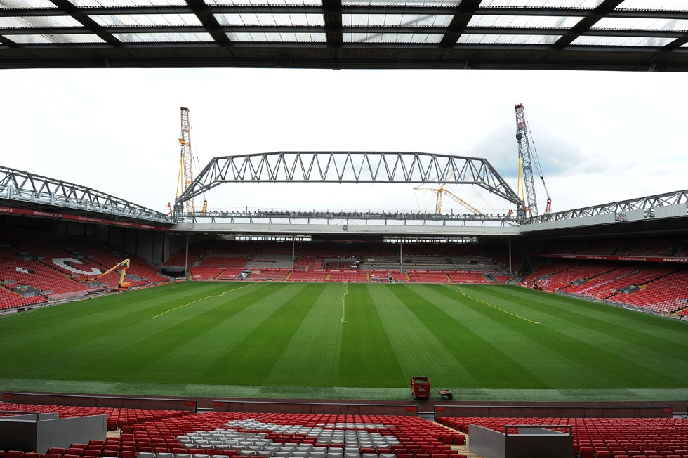 ANFIELD, LIVERPOOL. 24th July 2015. The 350ton roof truss lifted into position. New Main Stand construction. (Photo John Powell/LFC)