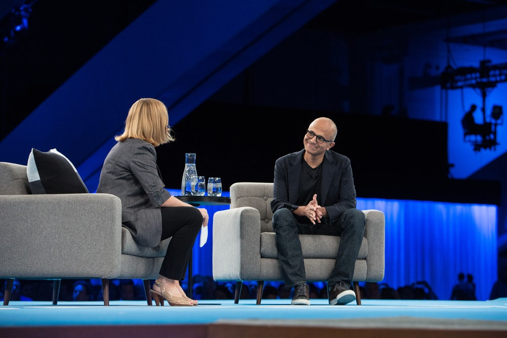 Microsoft CEO Satya Nadella on stage at Dreamforce