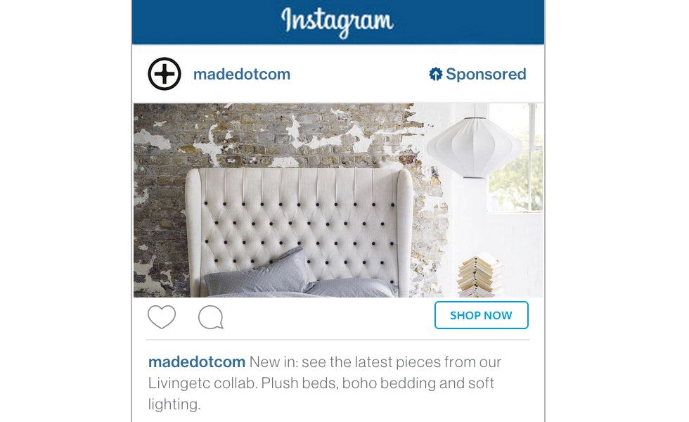 Instagram recently introduced direct response ads including actions such as 'shop now'