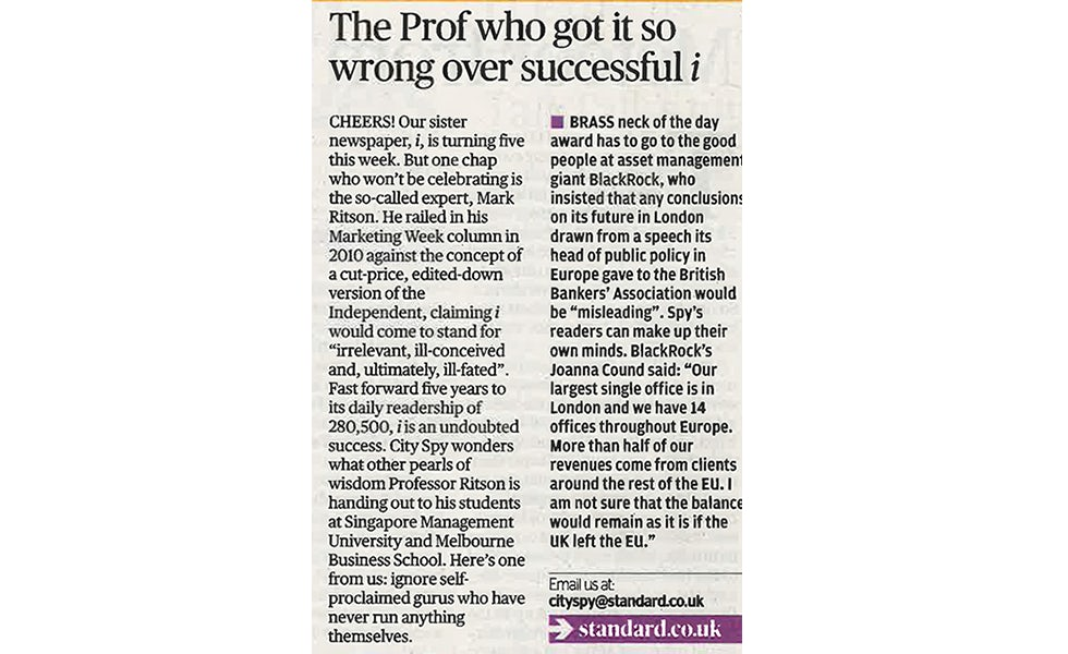 Ritson evening standard