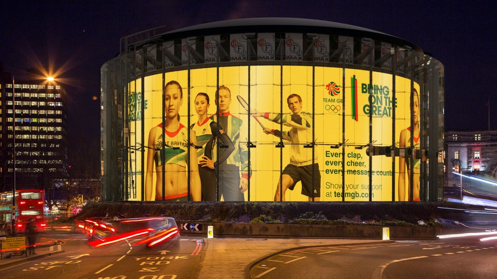 Digital outdoor sites such as London's IMAX banner at Waterloo will turn gold, silver or bronze as Team GB win medals during Rio 2016
