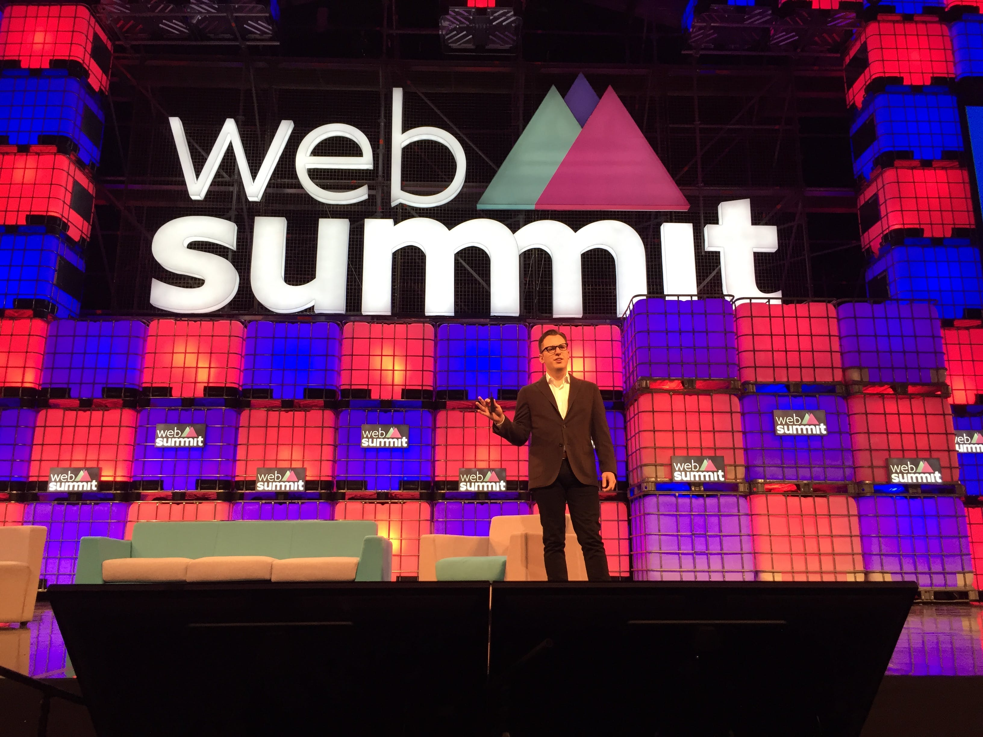 Instagram co-founder on stage at the Web Summit in Dublin