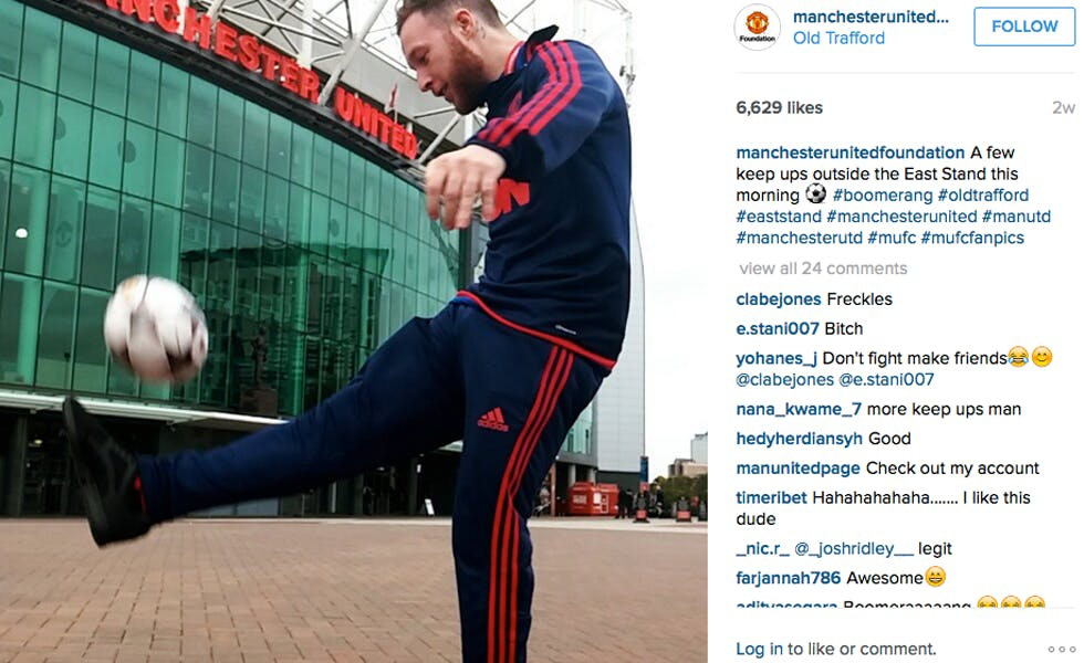 Manchester United is one of the brands testing out Instagram's Boomerang app