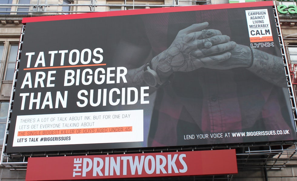 Lynx's latest campaign, aimed at raising awareness of male suicide.