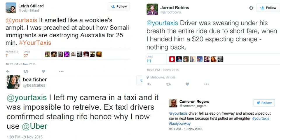 Twitter responses to Yourtaxi