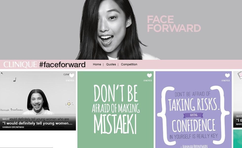 Beauty brand Clinique launched its #FaceForward campaign on Tumblr in a bid to appeal to millennials.