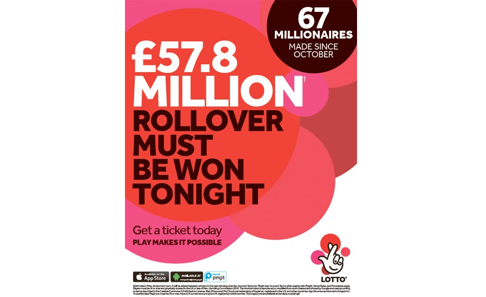 Camelot has been running press ads promoting the jackpot and the number of millionaires it has created