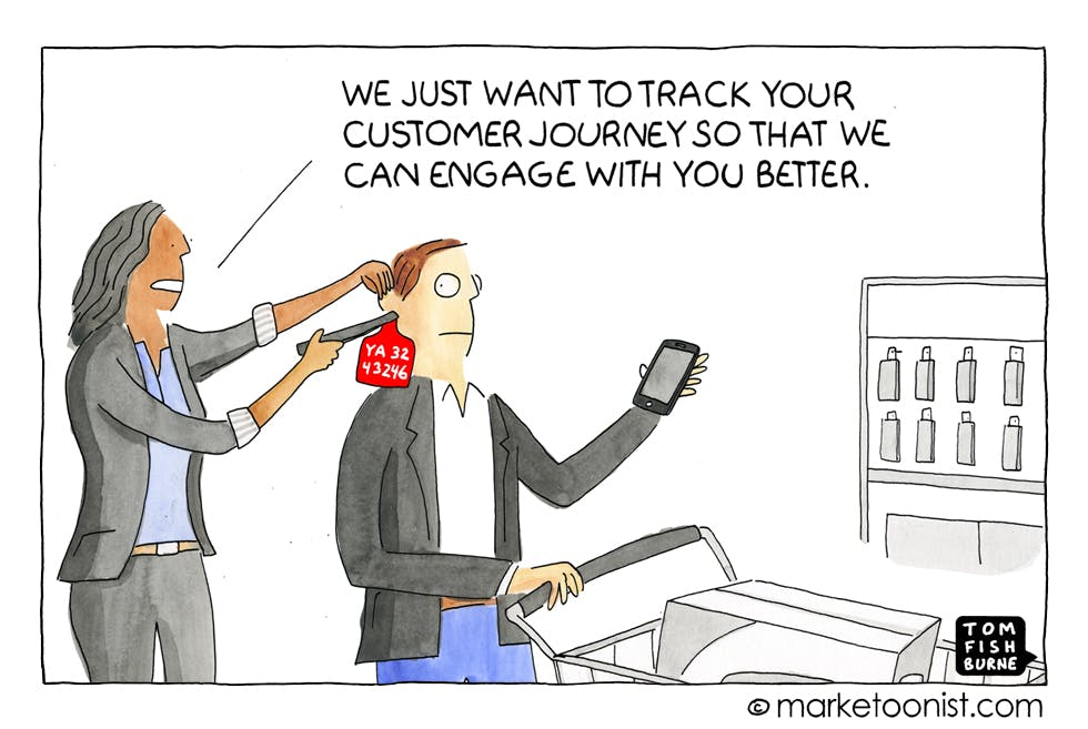 Tracking the customer journey, Marketoonist