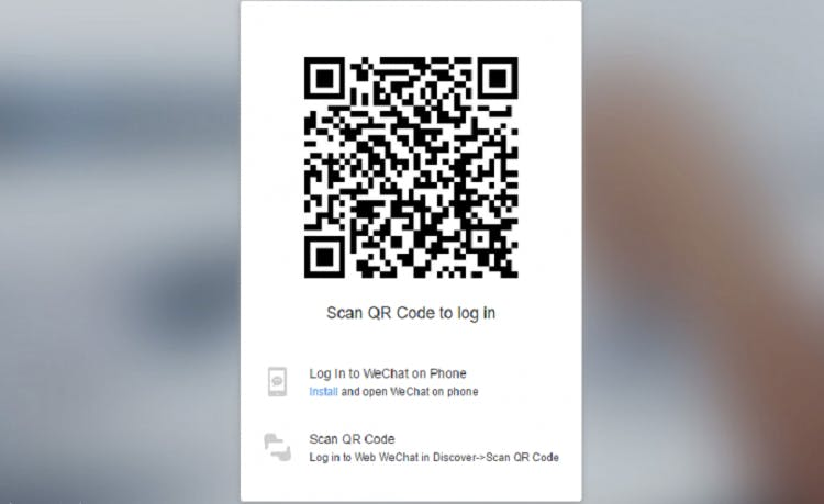 WeChat asks users to scan a QR code to login