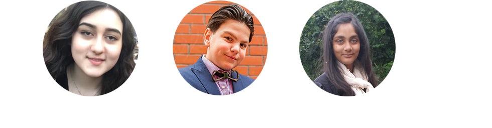 From left: Maelo Manning, Eric Lassard and Khushi Kaur