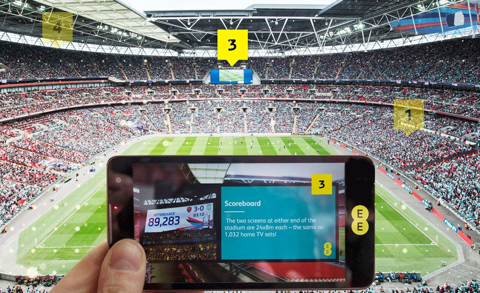 Through its partnership with Wembley Stadium EE can demonstrate how its 4G network can enhance the fan experience.