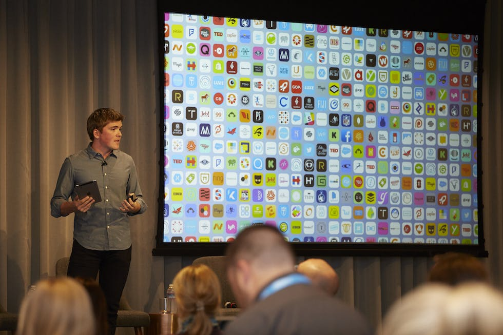 Stripe co-founder John Collison addresses journalists during the Salesforce Innovation Tour.