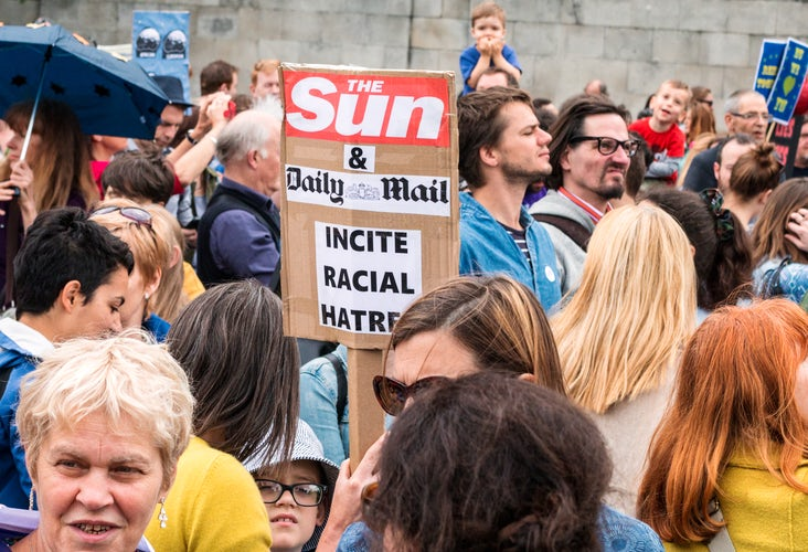Protesters in London voice their anger at the press after the result of the EU Referendum this summer, which saw the UK vote for Brexit