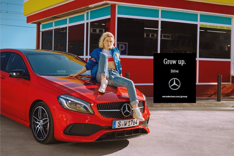A still from the new 'Grow Up' campaign for Mercedes-Benz compact cars